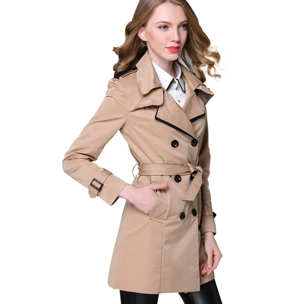 SLLSKY Women's Classic Long Trench Pea Coats 2-12