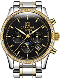 Mens 25 Jewels Automatic Gold Watches Mineral Mirror Moon Phase Calendar 24 Hours Luminous Watch Black
