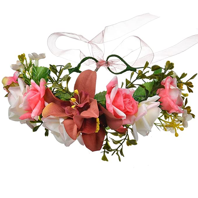 DreamLily Maternity Woodland Photo Shoot Pastel Pink Roses Flower Crown  Hair Wreath NC03 (1  0feb93bf239