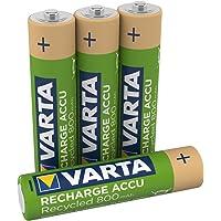 VARTA Recharge Accu Recycled oplaadbaar, Ready-to-use voorgeladen AAA Micro Ni-MH accu (verpakking met 4 stuks, 800mAh…