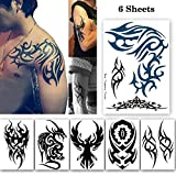 Leoars 6 Sheets Extra Large Tribal Totem Temporary Tattoo for Men Women Body Arm Big Tattoo Stickers for Guys Teens Waterproof Fake Tattoos