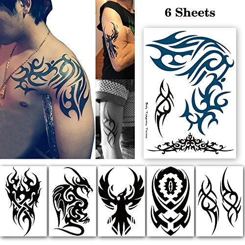 Leoars 6 Sheets Extra Large Tribal Totem Temporary Tattoo for Men Women Body Arm Big Tattoo Stickers for Guys Teens Waterproof Fake Tattoos -