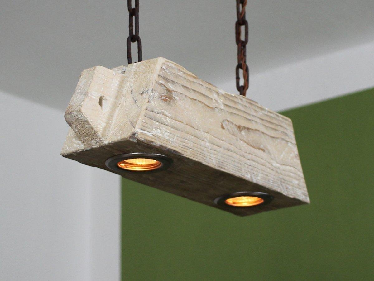 Deckenlampe aus altem Holzbalken inkl. LEDs