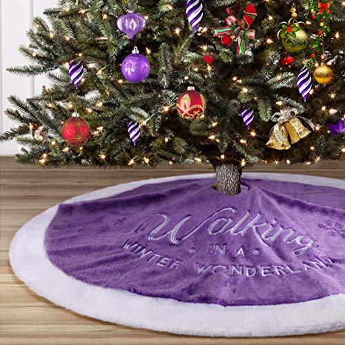 yuboo Christmas Tree Skirt, 36 inch Purple Plush Tree Skirt for Christmas Decorations for Xmas Party and Holiday Decorations