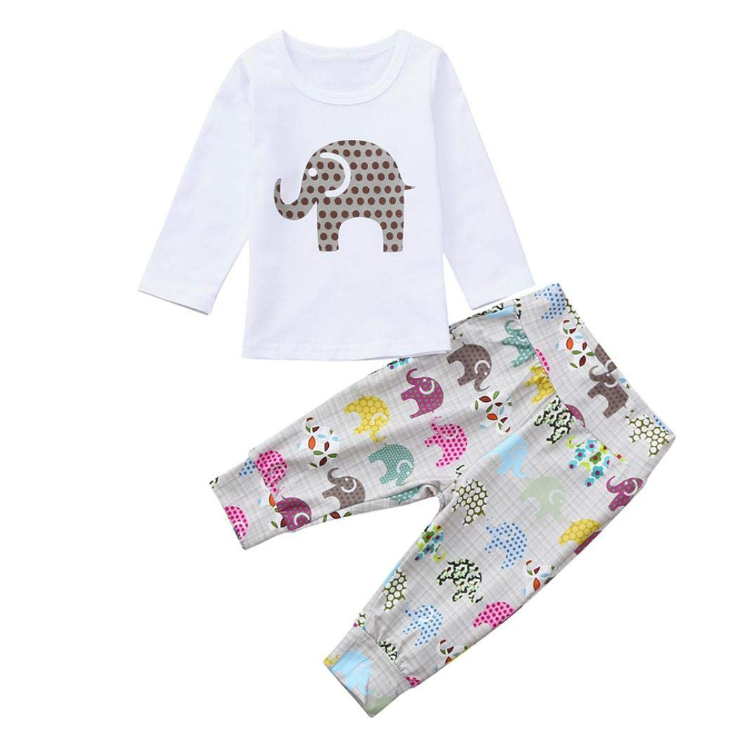 KpopBaby 2pcs Toddler Baby Boys Girls Clothes Set Elephant Print Tops+Pants Outfits GR20186666