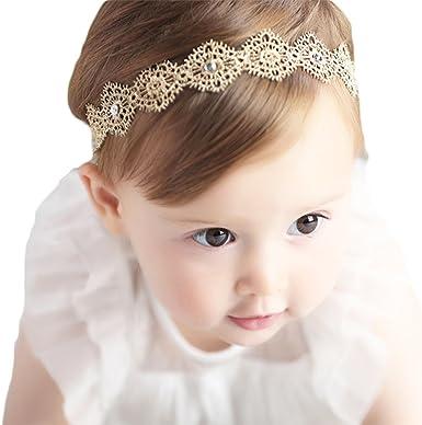 Baby Kids Diamante Pearl Crown Hair Bands Elastic Headband Headwear Silver