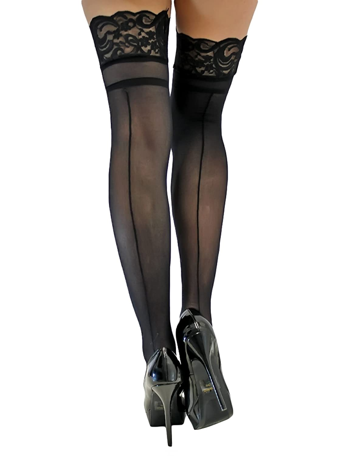9867a4a8003b0 Black Back Seam Thigh High Stockings With Cuban Heel at Amazon Women's  Clothing store: