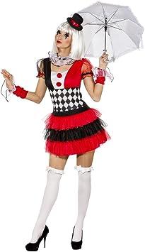 NET TOYS Disfraz Mujer Pierrot - ES 40/42 (S/M) | Vestido Arlequín ...