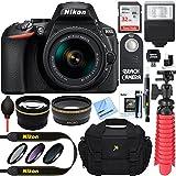 Nikon D5600 DSLR Camera + AF-S DX 18-55mm VR Lens Kit + Accessory Bundle 64GB SDXC Memory + SLR Photo Bag + Wide Angle Lens + 2x Telephoto Lens + Flash + Remote + Tripod + Filters (Black)