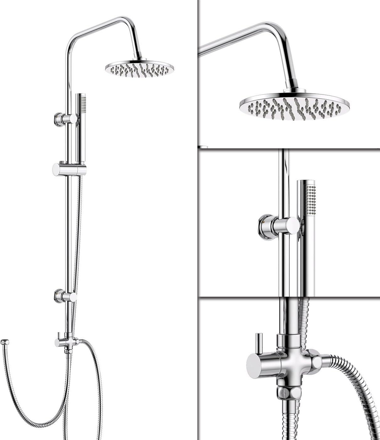 iBathUK | Modern Chrome Riser Rail Mixer Round Shower Head Kit for Bath Tap SP5105