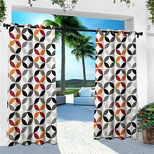 - leinuoyi Geometric Circle, Porch Curtains Outdoor Waterproof, Dimensional Ring Forms Artful Series Tones Hispter Bohemian Design Image, Balcony Curtains W72 x L96 Inch Multicolor