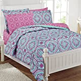 Purple and Teal Bedding 8pc Girls Hippie Comforter Twin Set, Teal Blue Purple Pink Floral Prints, Vibrant, Floral Bohemian Bedding, Geometric Accents, Pattern, Damask Flowers, Indie Inspired Hippy Spirit