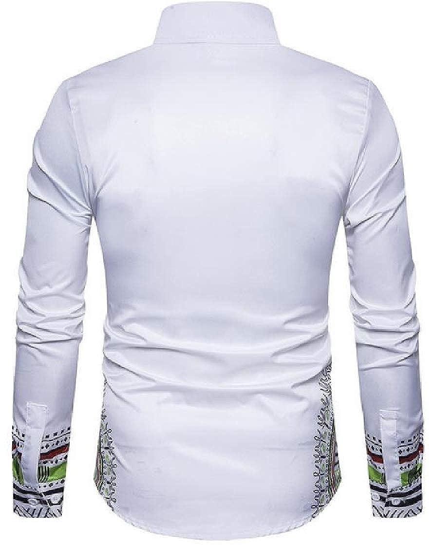Macondoo Men Lapel Neck Ethnic Style Floral Printed Dashiki Stretch Button Down Shirts