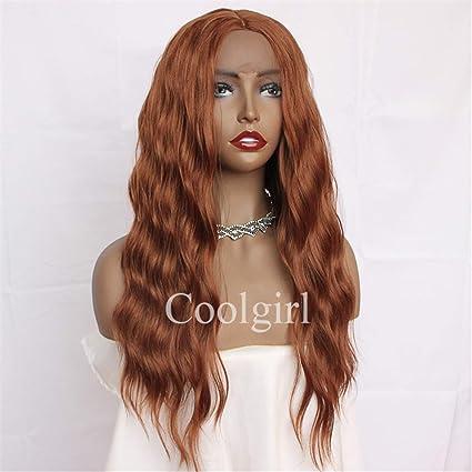 Missyvan - Peluca de pelo sintético ondulado de color naranja oscuro, pelucas para mujeres y