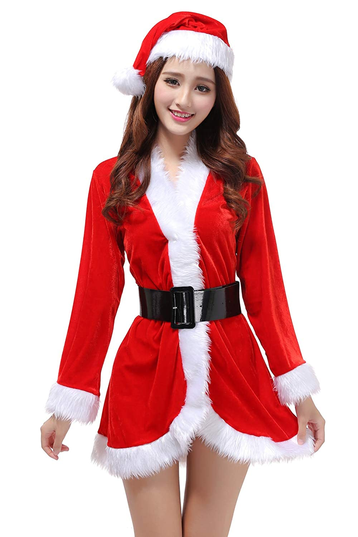 G Lake Women Christmas Cloak Mrs Santa Cape Xmas Red Velvet Cappa Hooded Robe Cosplay Costume (One Size)