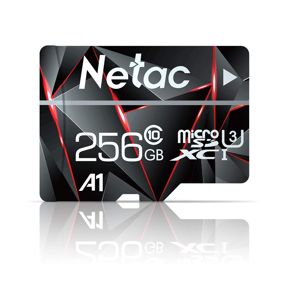 256GB Micro SD Card, Netac Memory Card MicroSD High Speed Transfer A1 C10 U3 MicroSDXC TF Card for Cemera/Phone/Nintendo-Switch/Galaxy/Drone/Dash Cam/GOPRO/Tablet/PC/Computer with Adapter by Netac