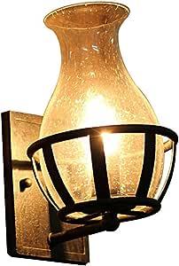 Lámpara de pared retro vintage antigua linterna de bronce apliques de jardín al aire libre iluminación luz creativa dormitorio rural luces de noche for paredes lámpara de pared de barra de vidrio: