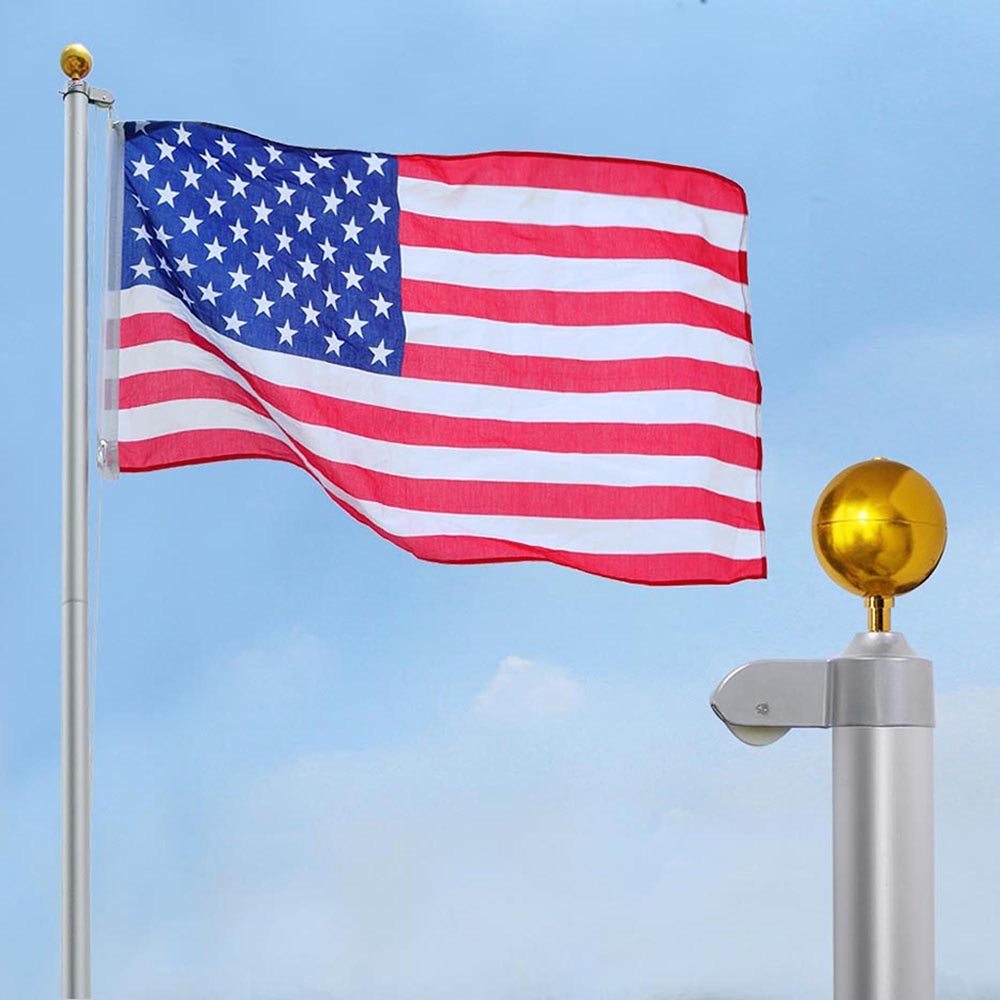 Yeshom 30 FT Upgraded Sectional Aluminum Flagpole 15 Gauge 24-30mph 3'x5' US American Flag Ball Fly 2 Flags Outdoor by Yeshom (Image #2)
