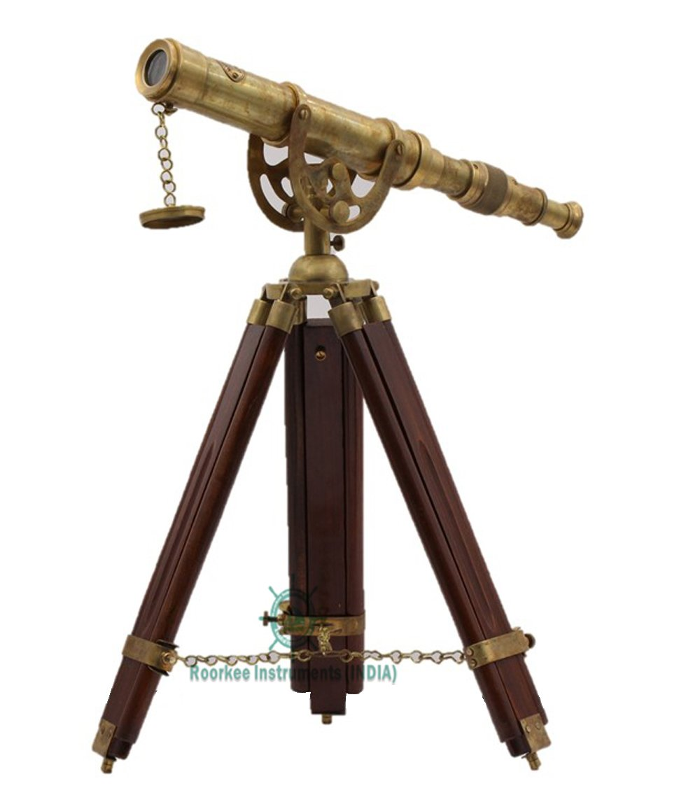 Roorkee Instruments Indian Rosewood Antique Tripod Nautical Telescopes with Harbour Master Stand
