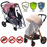 Stroller Rain Cover Baby Mosquito Net Universal Weather Shield Bug Net for Jogging Stroller Pushchair Buggy Pram Protect Baby from Rain Insect Wind Bug Snow Fly Shade Shield Netting Plastic