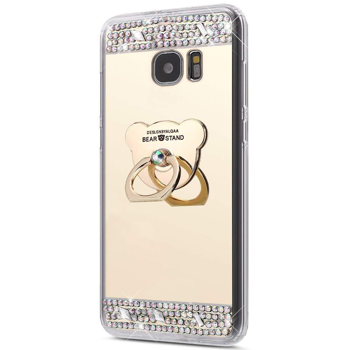 Galaxy S7 Edge Hülle, Spiegel Hülle für Samsung Galaxy S7 Edge, Surakey Luxus Glitzer Strass Ring Stand Holder Bär Muster Schutzhülle für Samsung Galaxy S7 Edge Weich Silikon Handyhülle Spiegel Hülle Mirror Effect, Neu Mode Cool Luxus Bling Glitzer Kristal