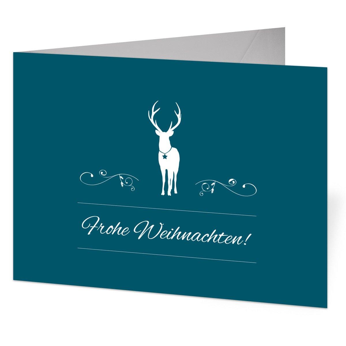 Firmen Weihnachtskarten (60 Stück) - Rentier in Blau als Foto Klappkarten B01LZEKRG3 | eine große Vielfalt  | Schönes Aussehen  | Neuer Stil