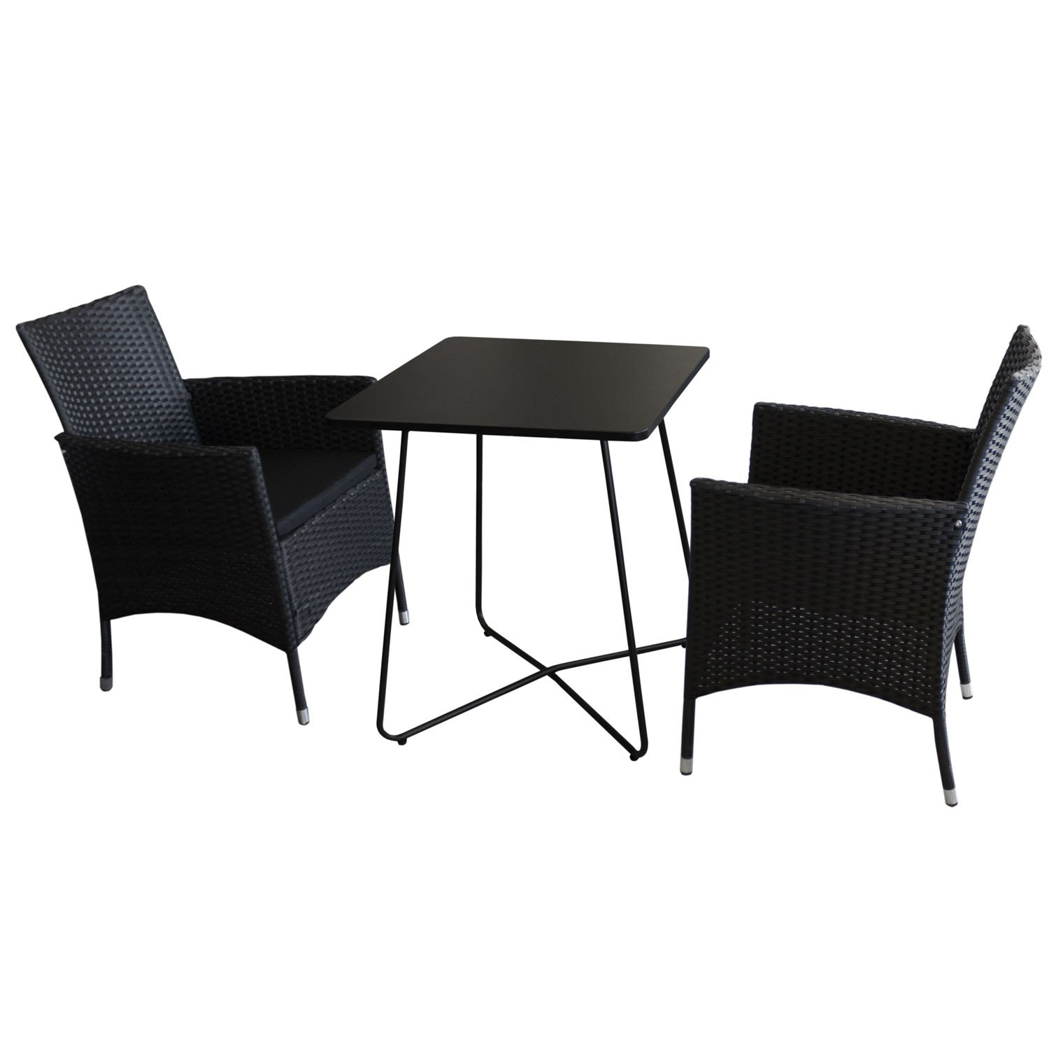3tlg bistrom bel set bistrotisch metall 60x60cm schwarz 2x rattansessel stapelbar inkl. Black Bedroom Furniture Sets. Home Design Ideas