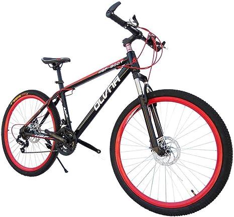 Bicicleta para hombre Mountain Bike, cuadro de acero de 17, horquilla de suspensión delantera con unidad de amortiguador trasero de 21/24/27/30 velocidades totalmente ajustable, rojo, 30 veloci: Amazon.es: Deportes y aire libre