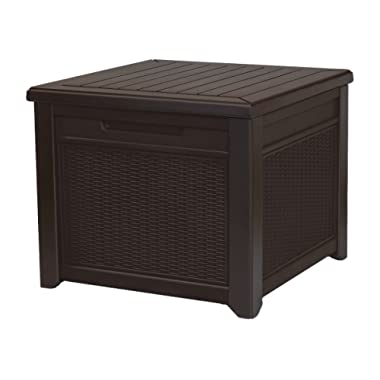 Keter 233705 55 Gallon Outdoor Rattan Style Storage Cube Patio Table, 1 Pack Brown