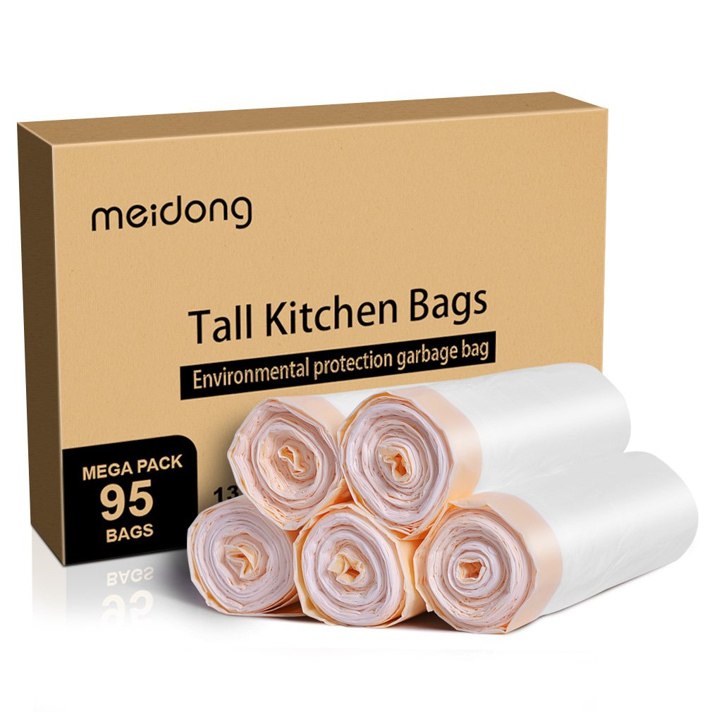 Trash Bags, meidong Garbage Bags 13 Gallon Large Tall Kitchen Drawstring Strong Multipurpose White Bags for Trash Can Garbage Bin(5 Rolls/95 Counts)