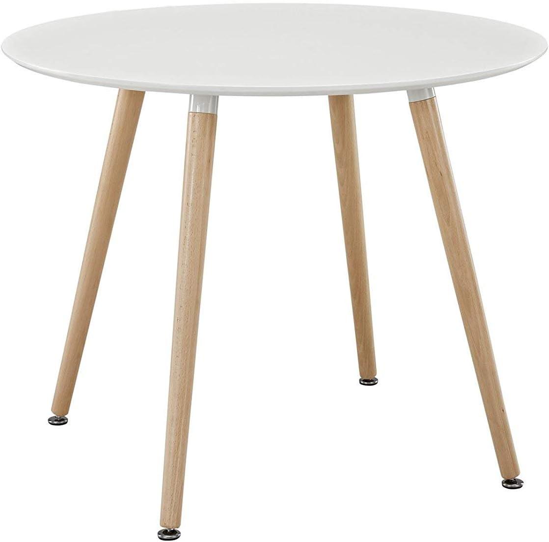 H.J WeDoo Ronde Table de Salle /à Manger scandinave Diam/ètre 80cm Moderne Style Nordique en Bois Blanc