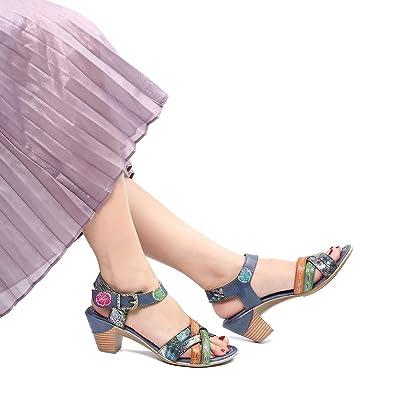 6d6887815e2243 Camfosy Damen Leder Vintage Sandalen mit Absatz