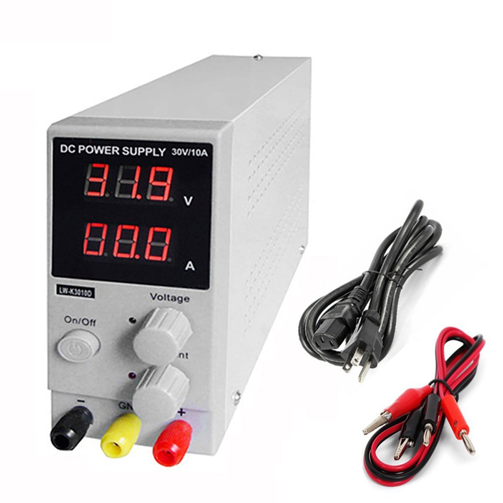 Dc Power Supply Variable 0 30 V 10 A Lw K3010d Adjustable Voltagecontrolledstatevariablefilter Powersupplycircuit Switching Regulated Digital With Alligator Leads Us Cord Used For