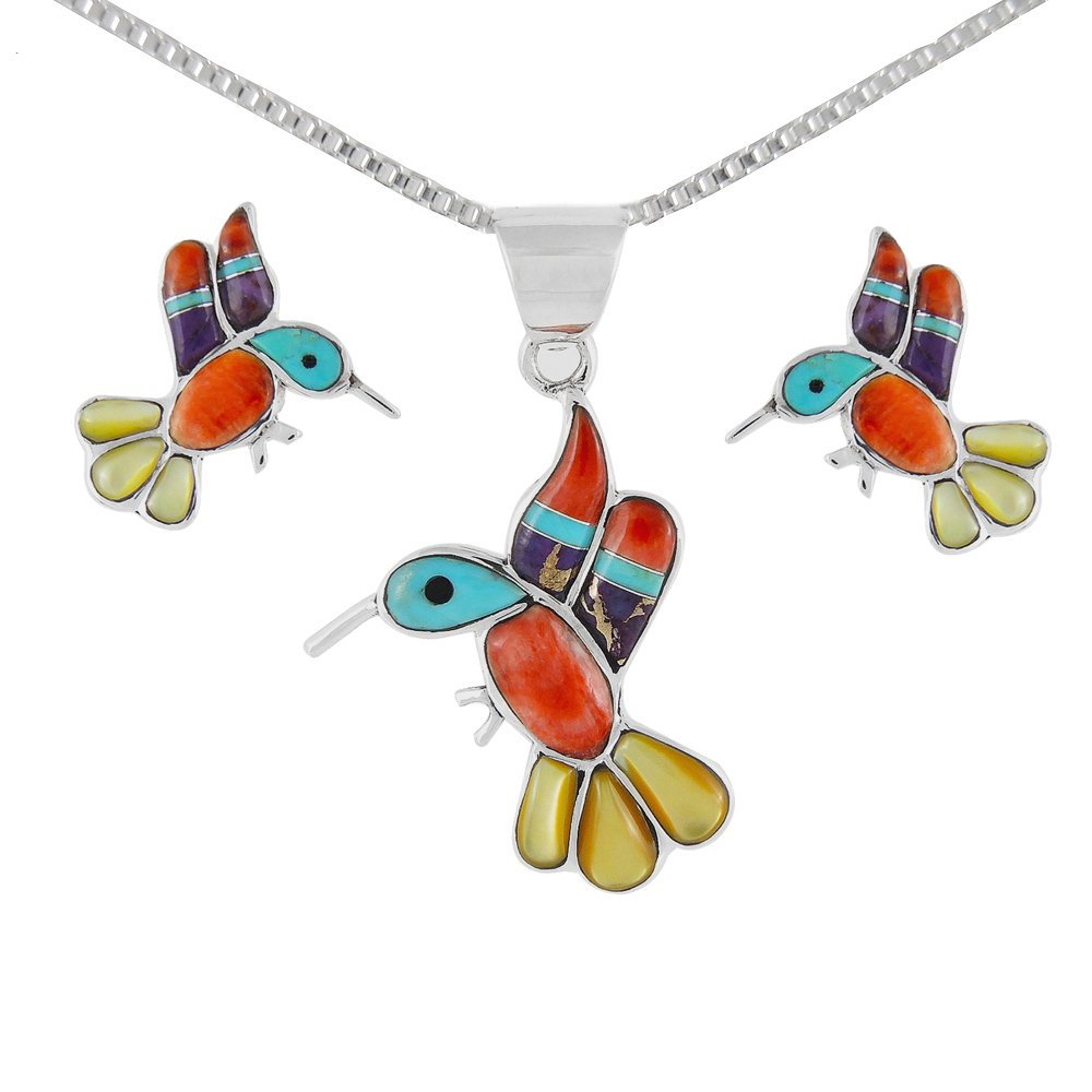 Hummingbird Matching Set in Sterling Silver & Genuine Turquoise (Pendant, Earrings, Necklace 20'') (Multi-01)