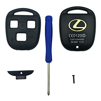 Replacement Keyless Entry Key Fob Case Fit Lexus ES GS GX IS LS LX RX SC Remote Control Key Combine 3 Buttons Replacement Car Key Shell Casing Blank Without Blade (Black): Automotive
