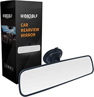 Wontolf Rear View Mirror White Rearview Mirror Universal Interior RearView Mirror with Suction Cup for Car Truck SUV 9.5