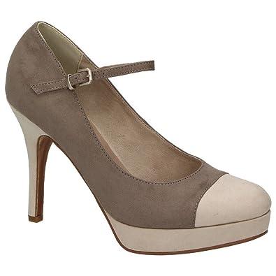 Tamaris Damen Schuhe Mary Jane Riemchen Pumps Plateau High