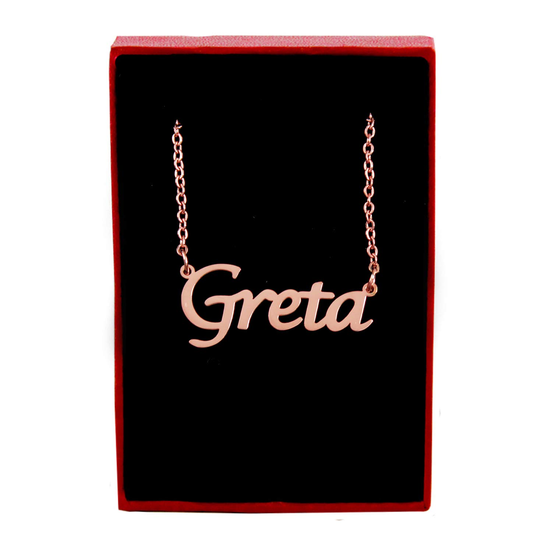 Kigu Greta Custom Name Necklace Personalized 18ct Rose Gold Plated