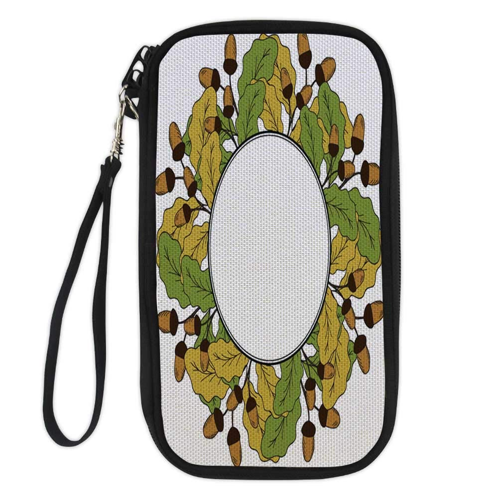 patterned passport walletcustom passport walletOak leaf and acorn in color liner round frame 3 9.1x4.7x0.8