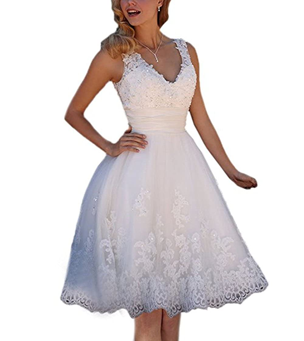 Ivory alilith.Z Sexy V Neck Short Beach Wedding Dresses for Bride Beaded Appliques Lace Bridesmaid Dresses