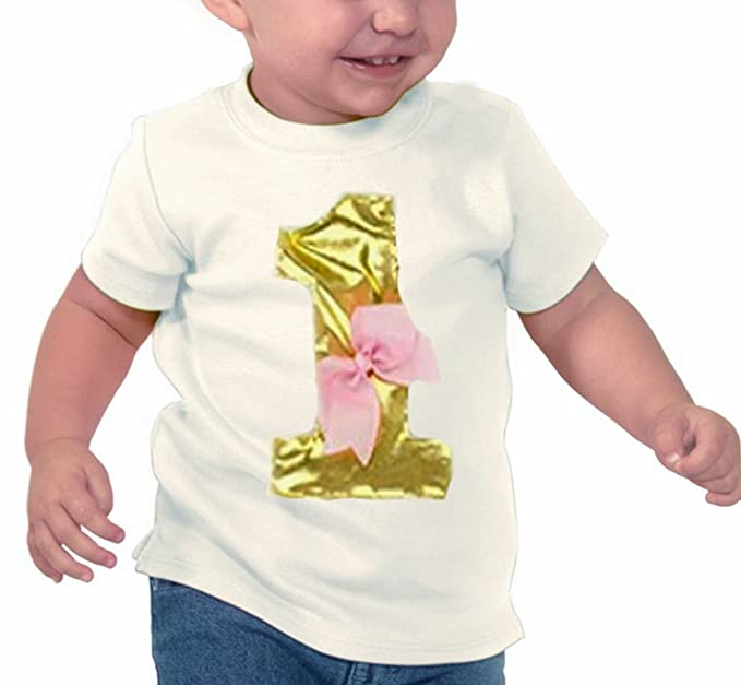 Cute Baby Girls Gold And Pink 1st Birthday One Year Old Shirt 6M To