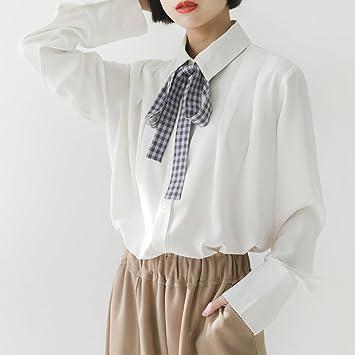 GAOLIM Estudiante Suelto Corbata Blanca Camisa Manga Larga Mujer ...