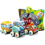 UNIH Pull-Back Vehicle Soft Baby Toys Toddlers Plush Car Toy Set 4 Cars with Play Mat (Storage Bag), 1 2 3 Year Old Toys