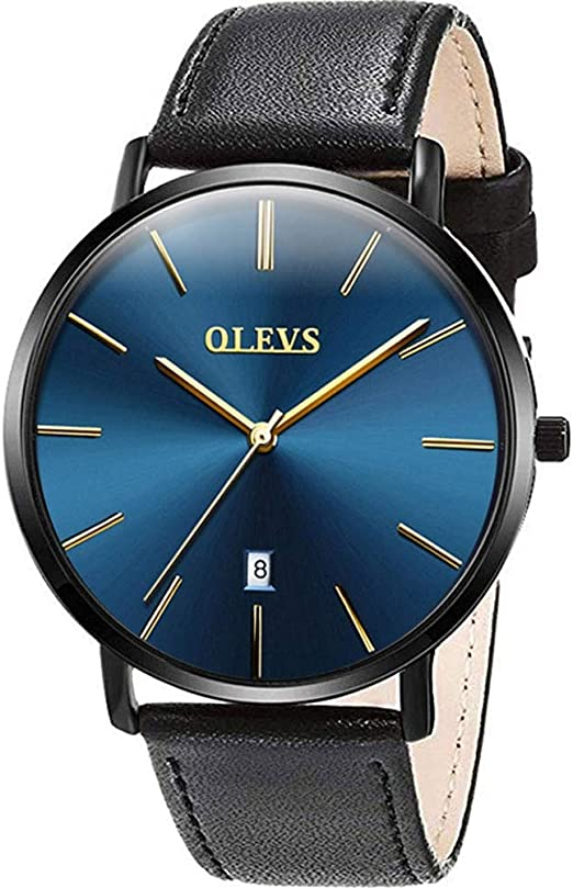 Amazon.com: Mens Watches Ultra Thin Minimalist Black Blue Dial ...