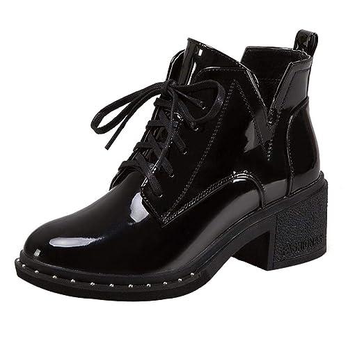 Botines tacón Ancho Altas de Cuña para Mujer Otoño Verano 2018 PAOLIAN Botas Chelsea Casual Zapatos de Remache Señora Moda Botines Militares Calzado de ...