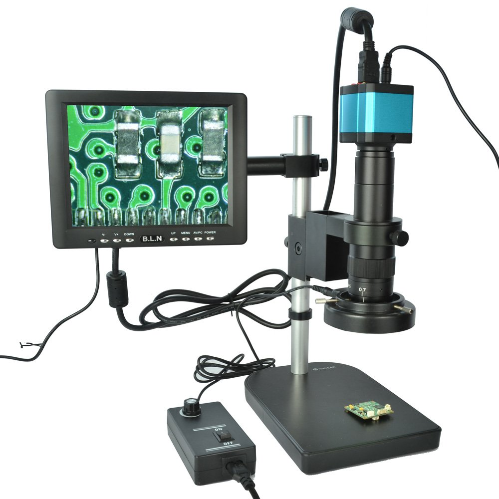 HAYEAR Full Set 14MP Industrial Digital Microscope Camera HDMI USB Outputs+180X C-Mount Lens+8'' HD LCD Monitor+60 LED Illumination Light Lamp by HAYEAR