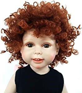 Heat Resistant Afro Tiny Curls Finished Short Cut Doll Wigs for 18'' Height Doll with 10-11inch Head