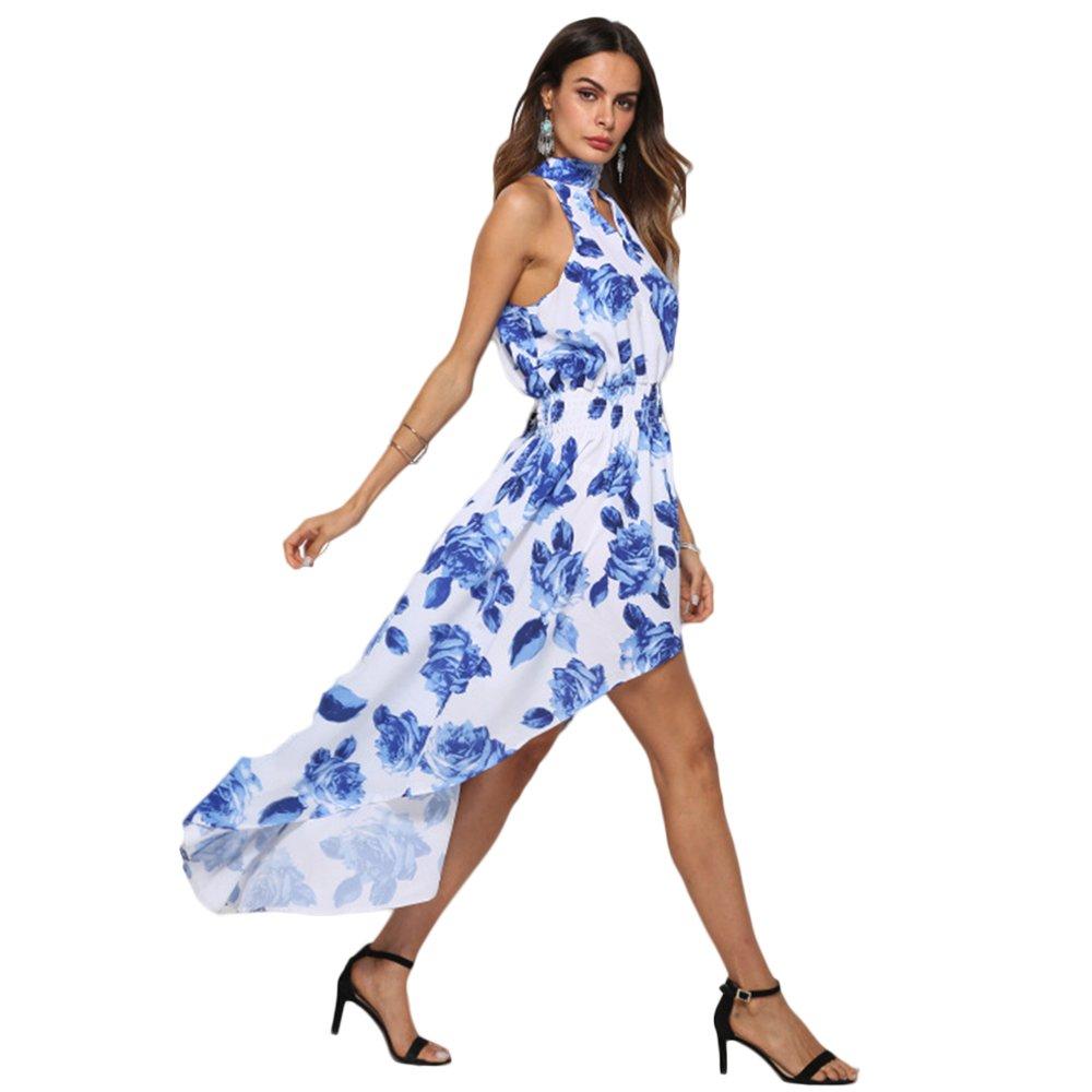 ONEFENG Vestido Mujer 2018, Estampado Boho Long Maxi Fiesta de Noche Mujeres Vestidos Verano Largo de Envuelto Pecho con Florales Impresa Vestido Coctel ...