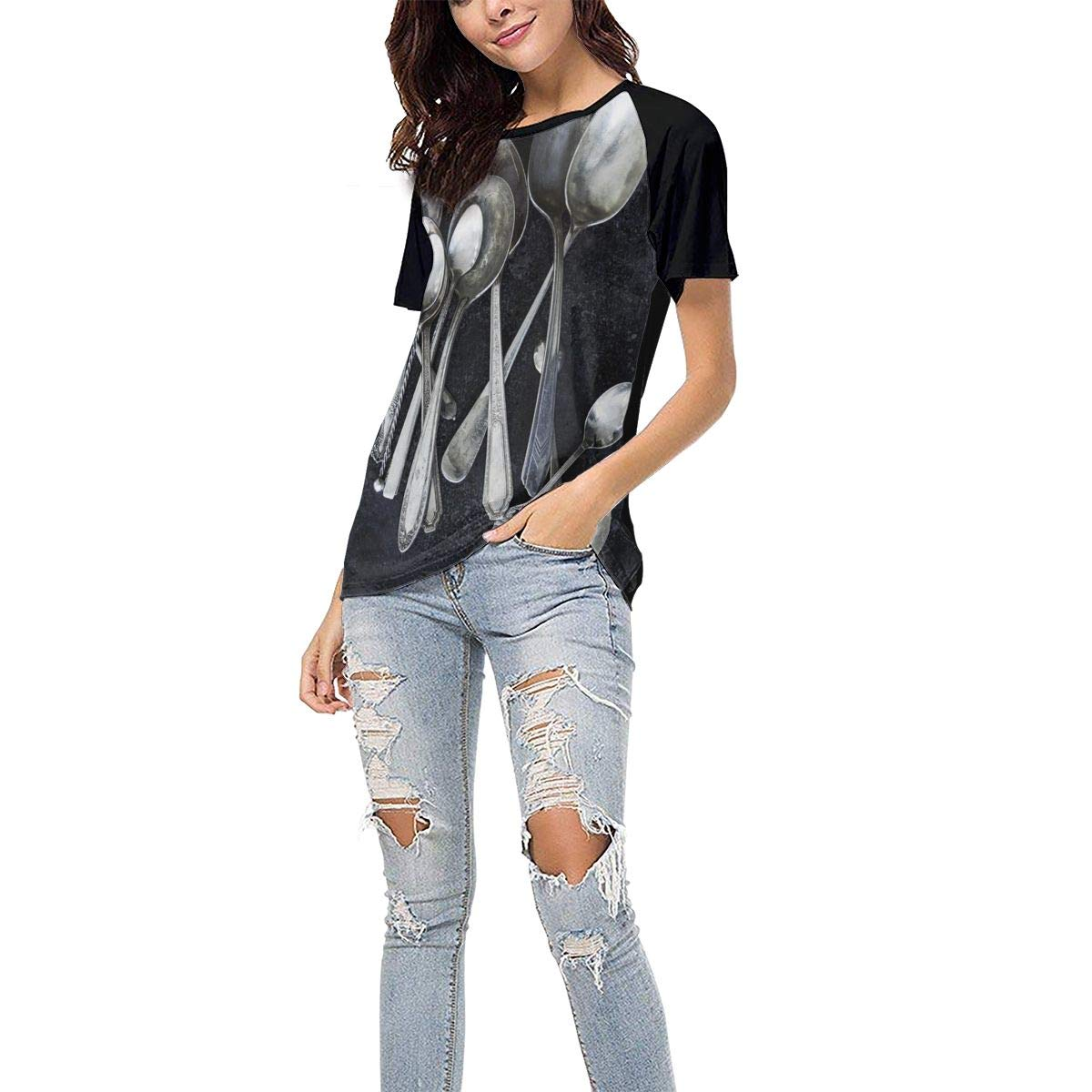 Old Silver Spoon Casual Raglan Tee Baseball Tshirts Tops Blouse Laki-co Womens Summer Short Sleeve