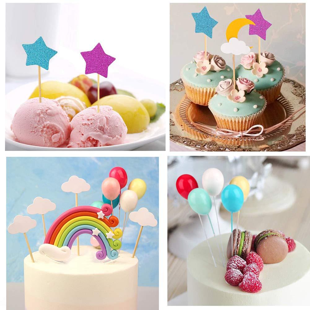 Unicorn Cake Topper Cloud Rainbow Star Balloon Cake Topper Decoraciones de pasteles Comestibles Stand Up Wafer para cumplea/ños Boda Baby Shower Party Pack de 15